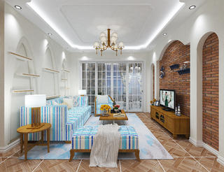 120㎡地中海风格装修客厅效果图