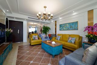 美式四房装修沙发背景墙图片