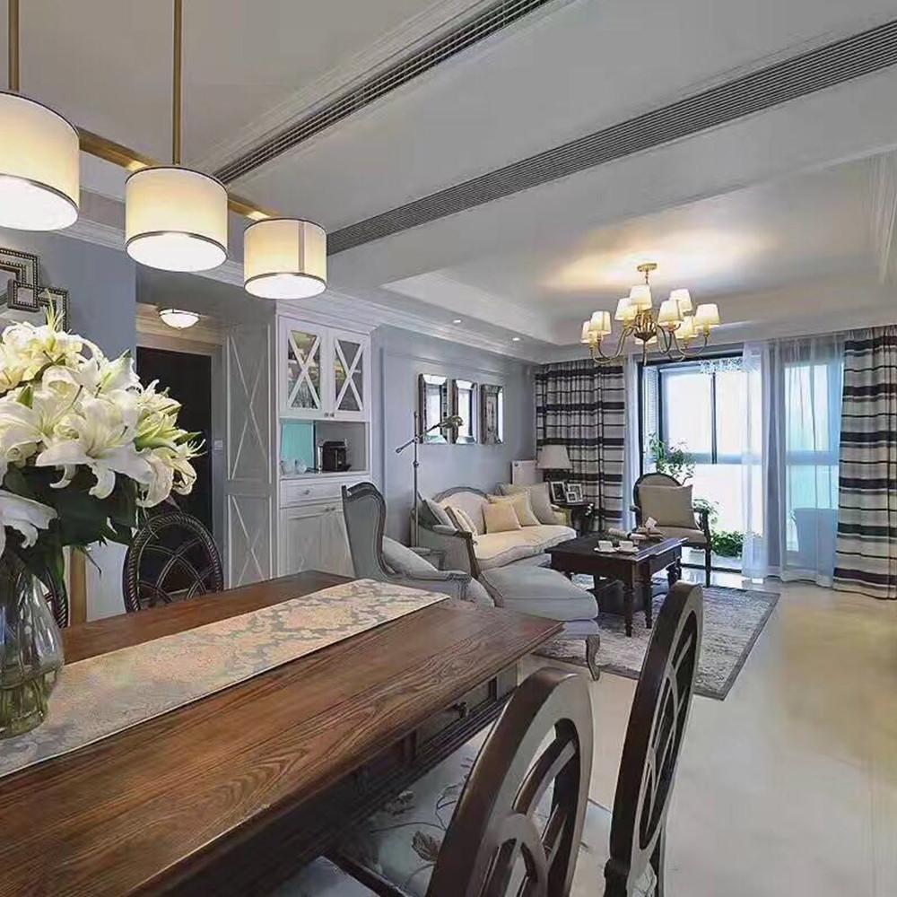 130平美式公寓装修沙发背景墙图片