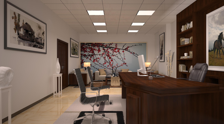 现代简约办公室装修办公桌图片