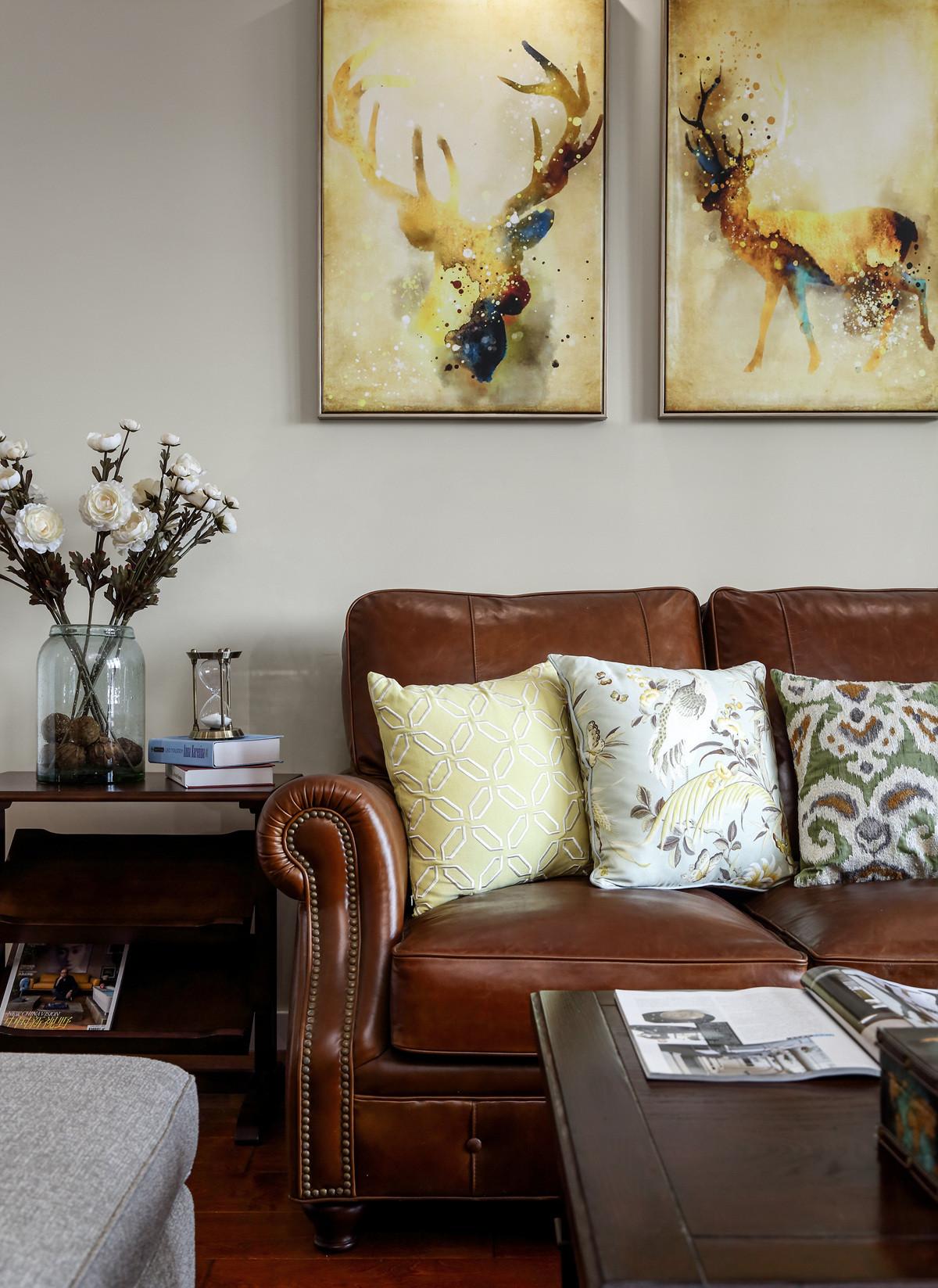 140平美式风格装修沙发图片