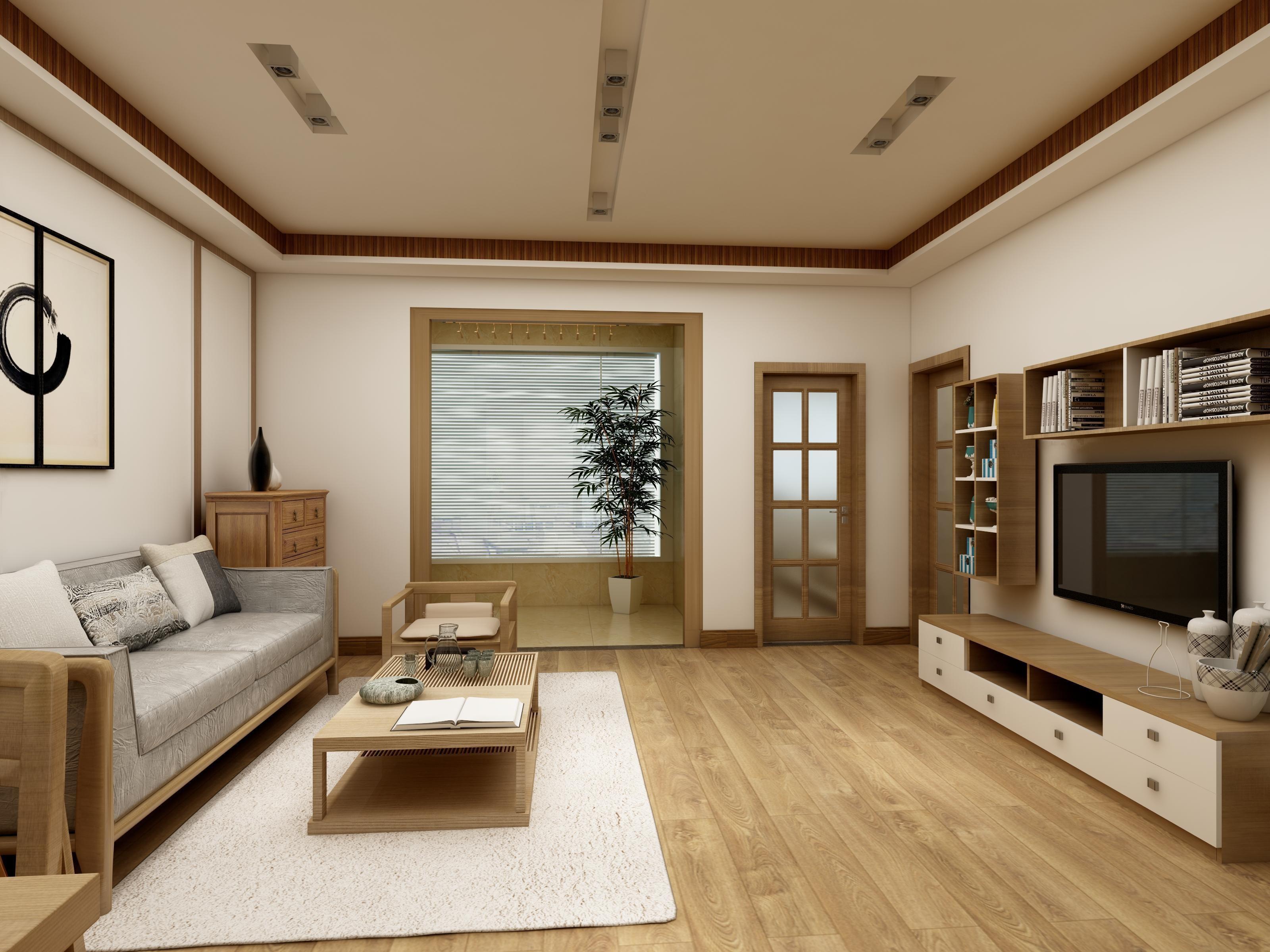 82平现代中式空间客厅效果图