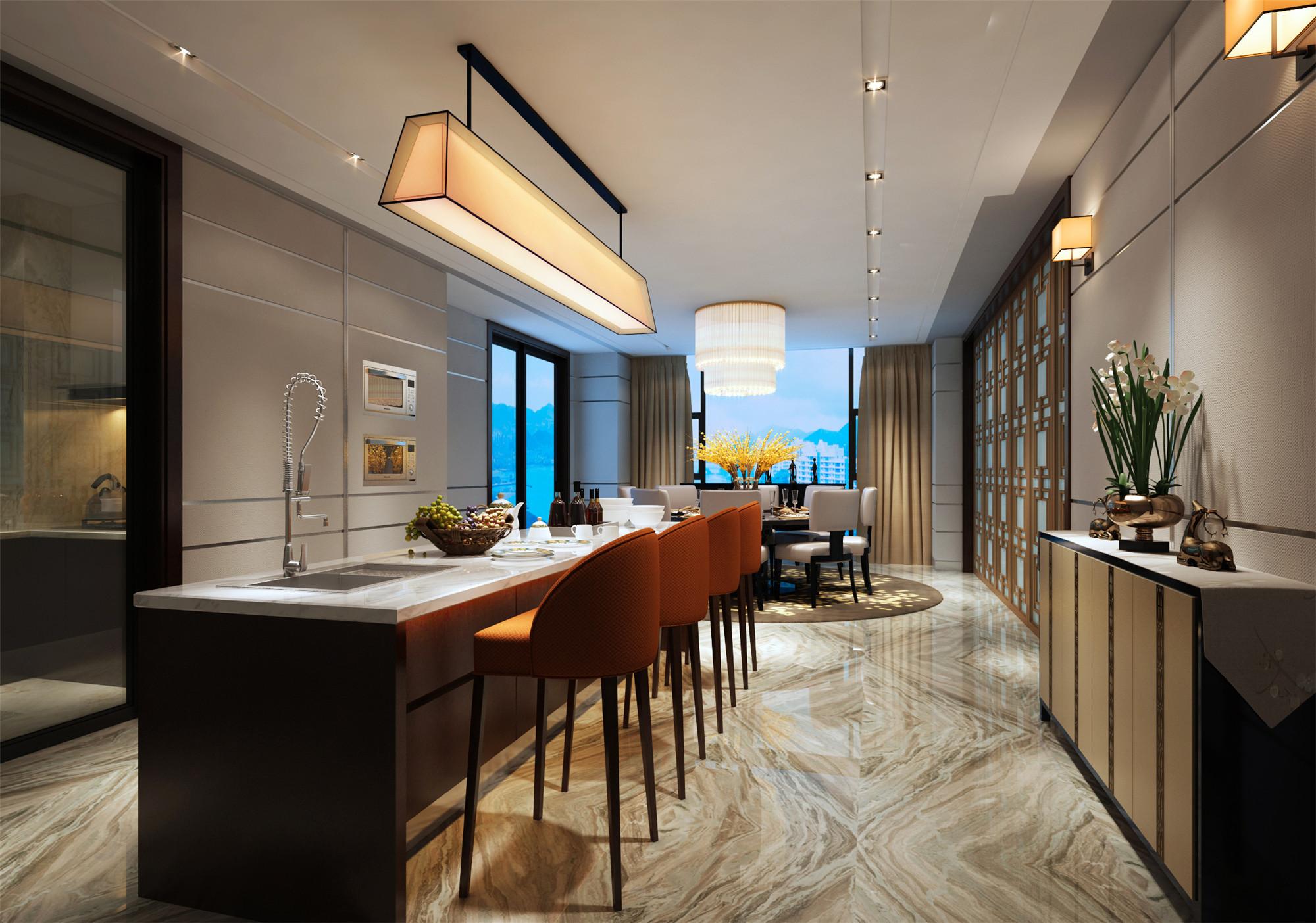 豪华中式别墅装修餐厅效果图