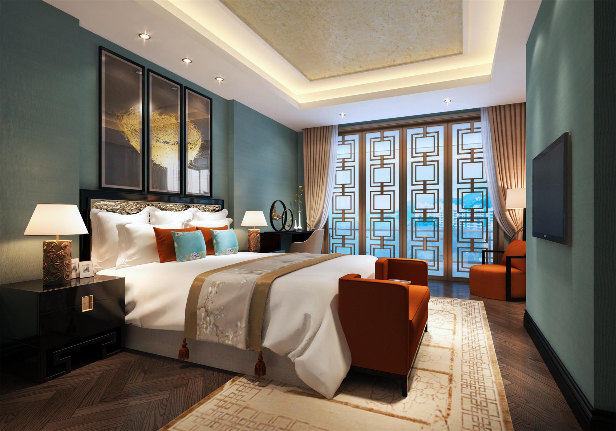 豪华中式别墅装修卧室设计图