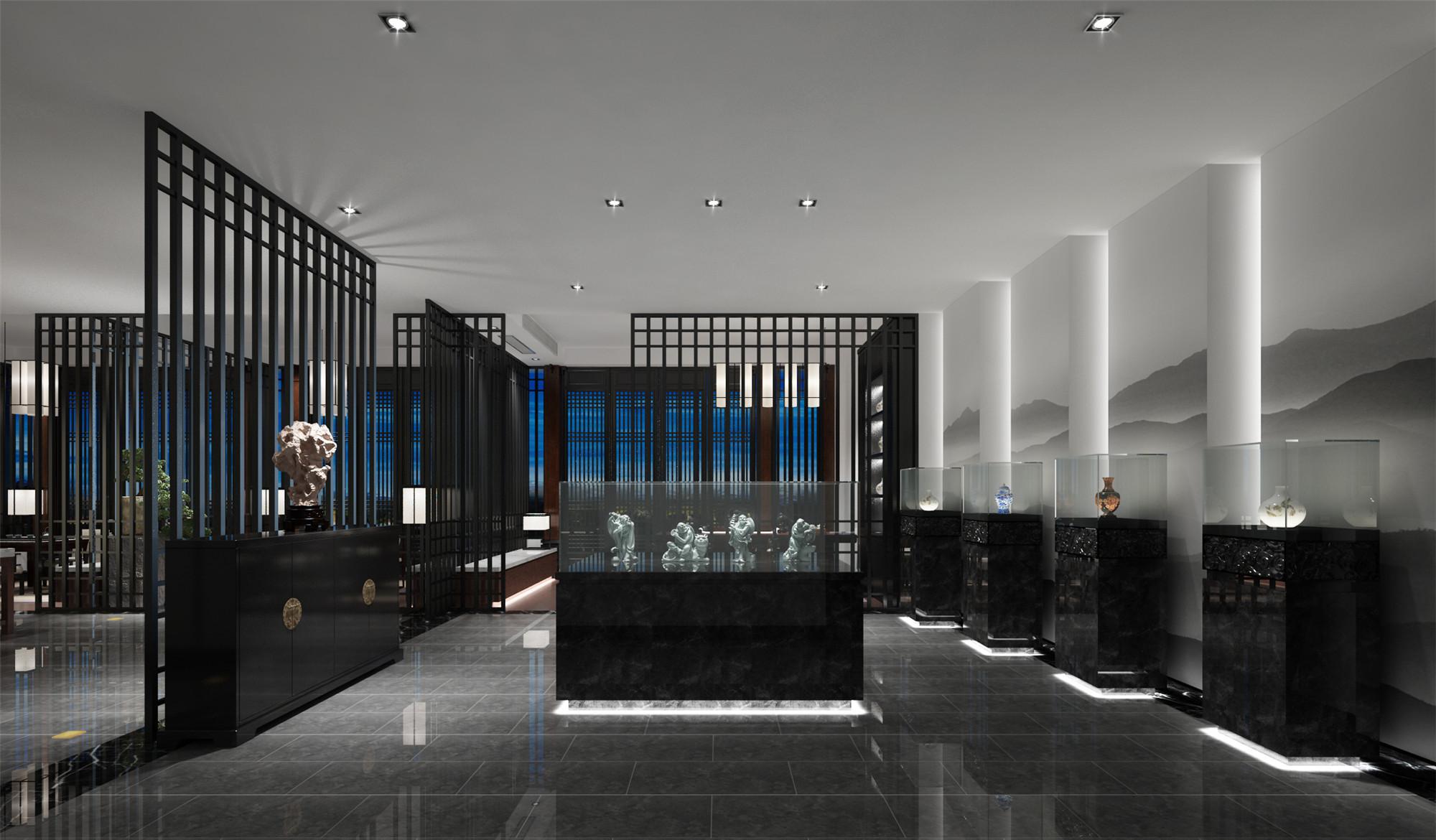 中式别墅装修展厅效果图