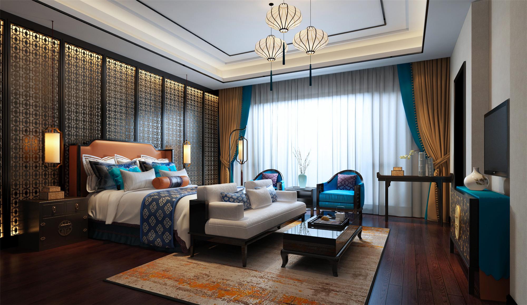 中式别墅装修卧室效果图