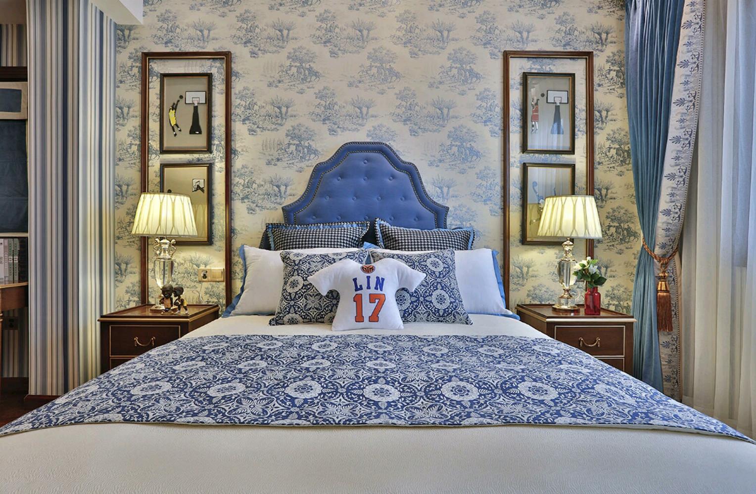 大户型美式之家床头背景墙图片
