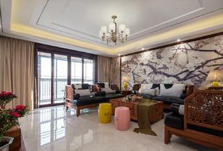 245㎡中式装修沙发背景墙图片