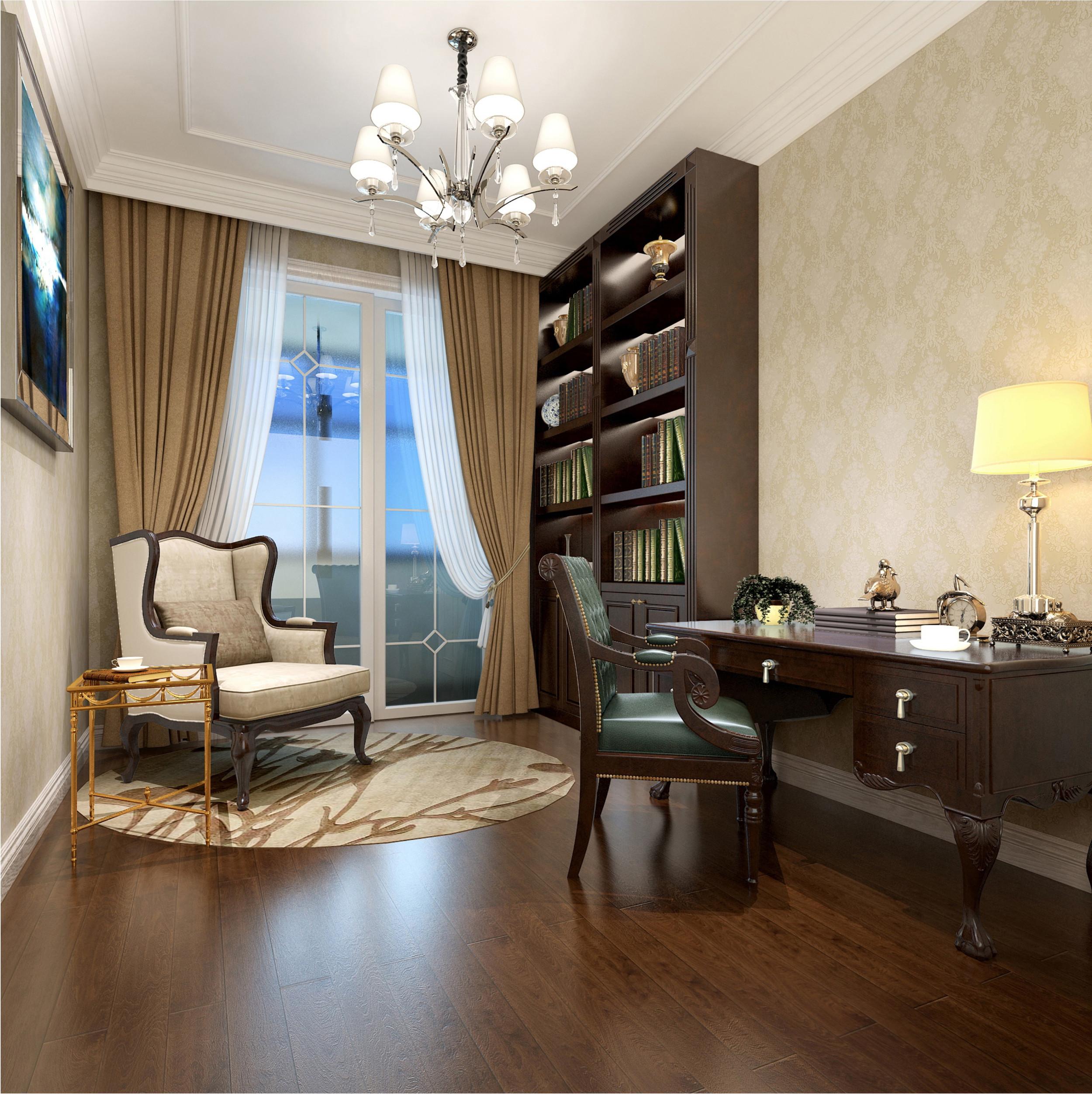 美式古典四居装修书房效果图