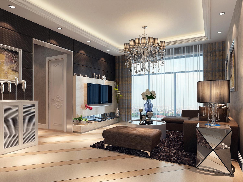 80平现代简约三居装修客厅效果图