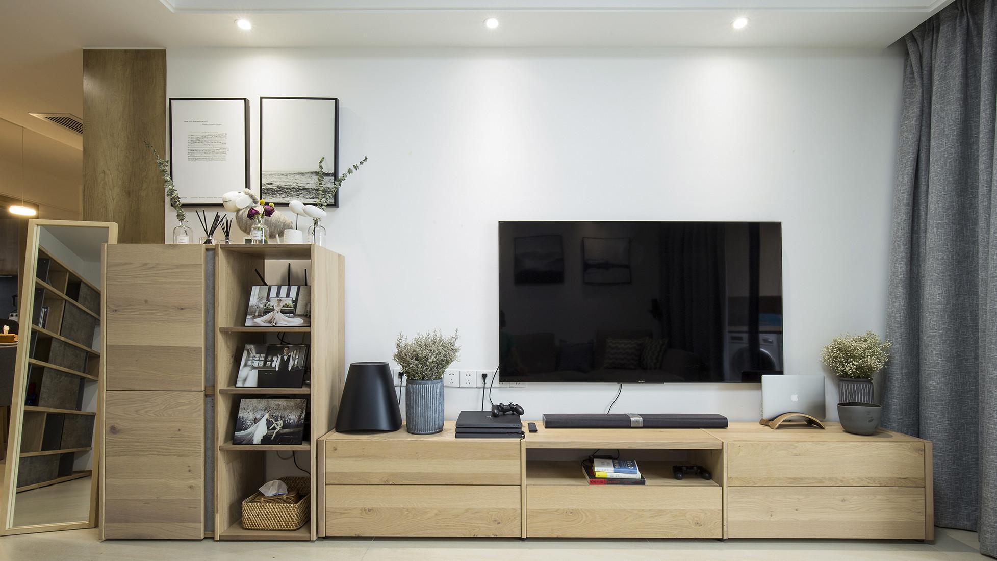 日式优雅清美四居装修电视柜图片