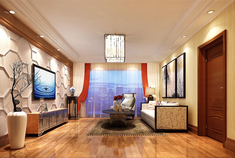 新中式复式装修二楼客厅效果图