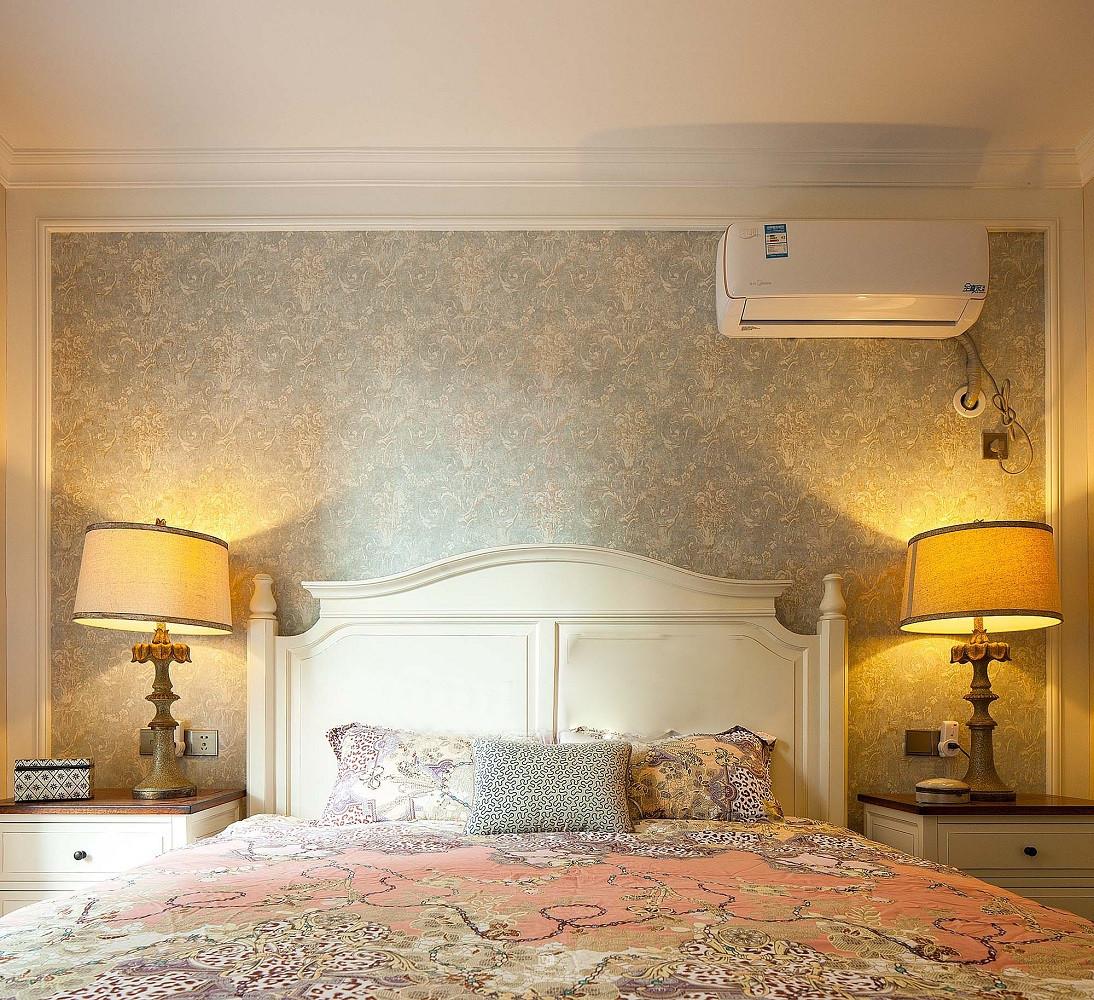 素雅简美式卧室 床头背景墙设计_齐家网装修效果图
