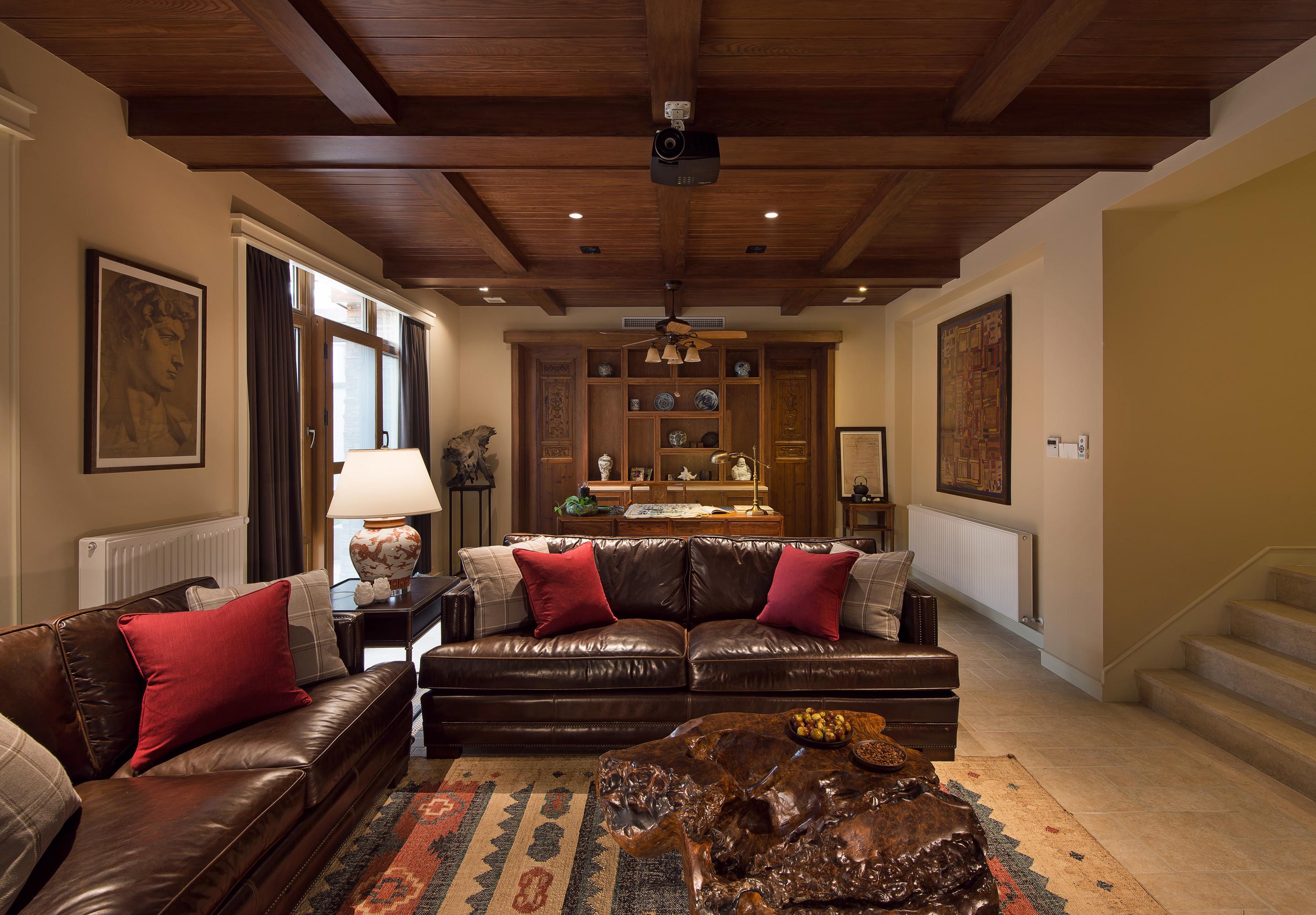 美式别墅装修影音室沙发图片