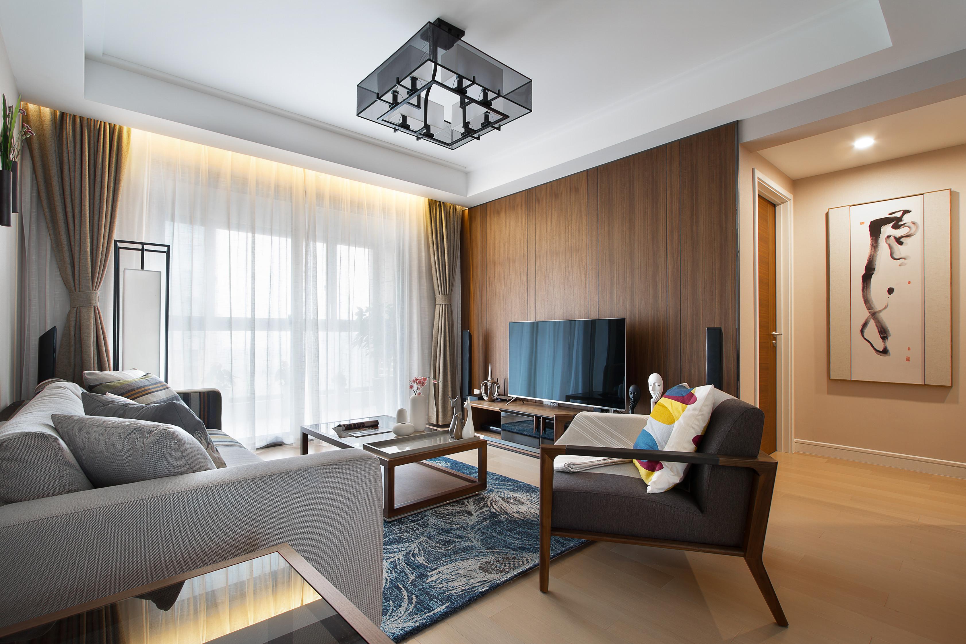 107平新中式三居装修客厅效果图