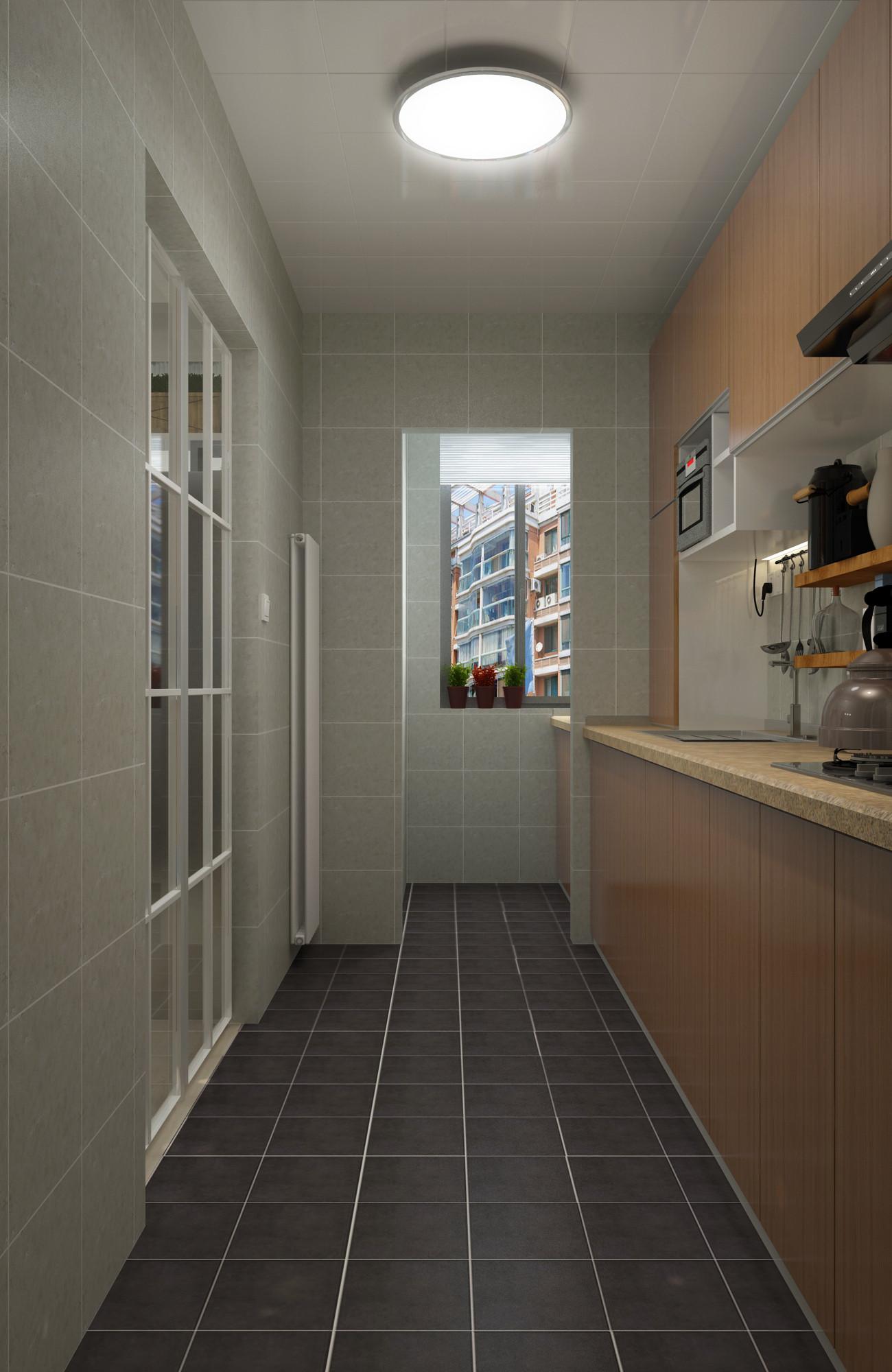 100平三居室装修厨房过道