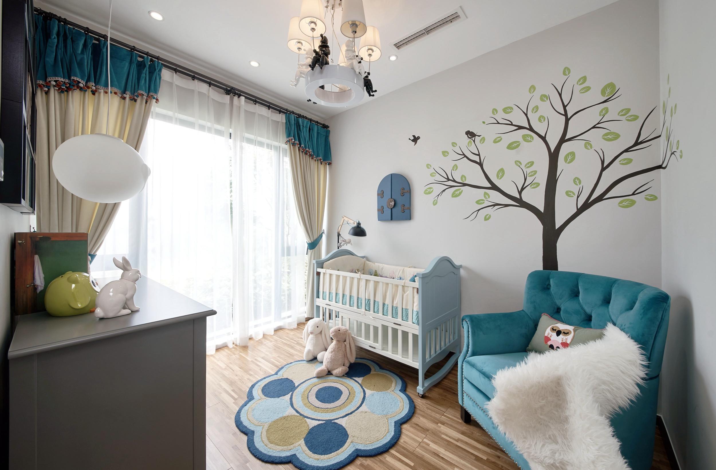 89平现代简约风设计婴儿房布置图