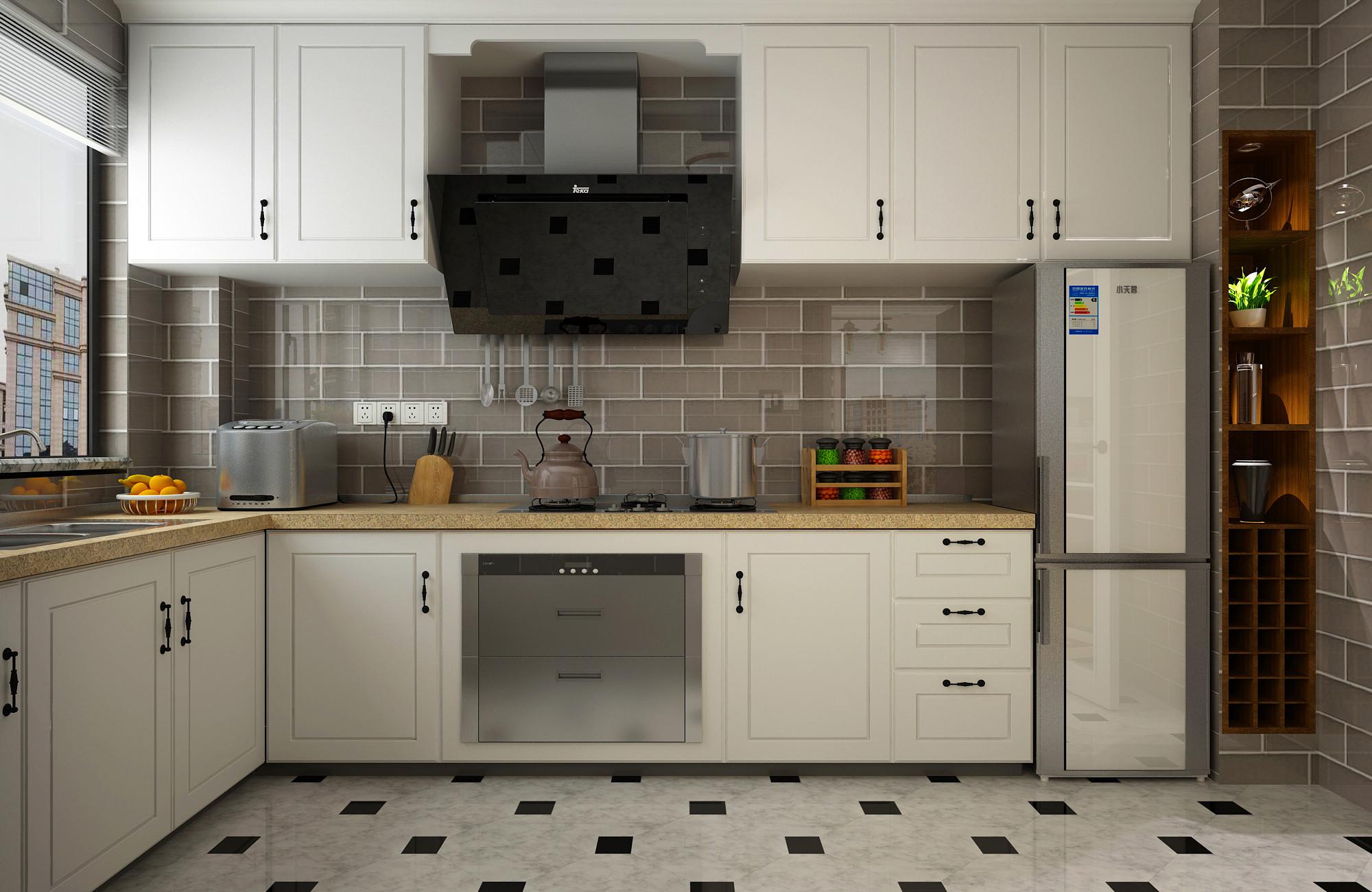130平二居室装修厨房效果图
