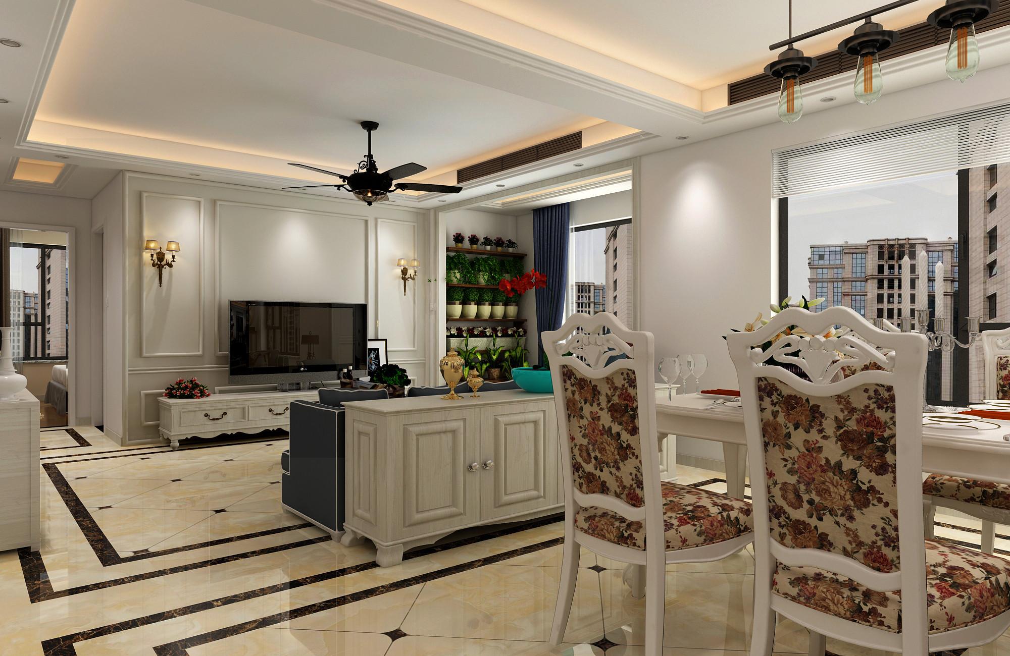 130平二居室装修客厅设计效果图