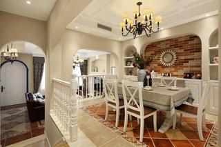 美式复式别墅装修餐厅背景墙图片