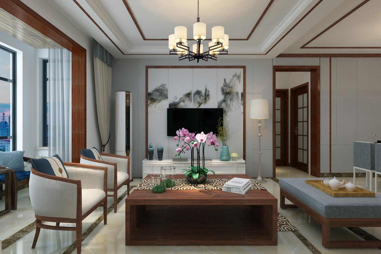 130平新中式设计电视背景墙图片