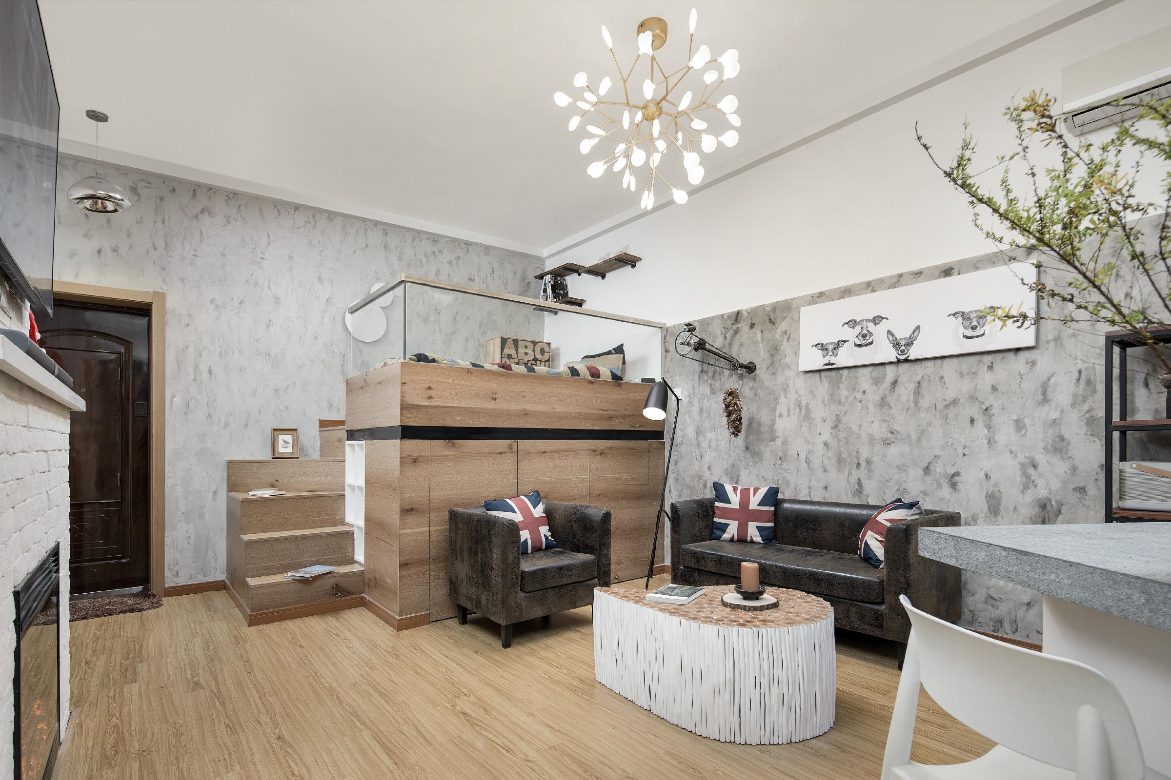 38平小户型公寓装修沙发背景墙图片