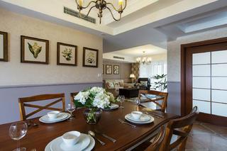 美式三居装修设计餐桌椅图片