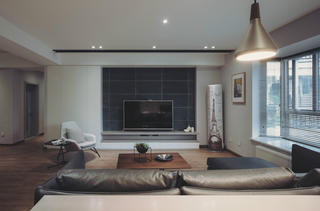 140平现代简约家装修电视背景墙图片