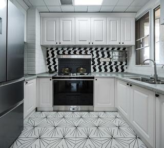 90平美式装修厨房效果图