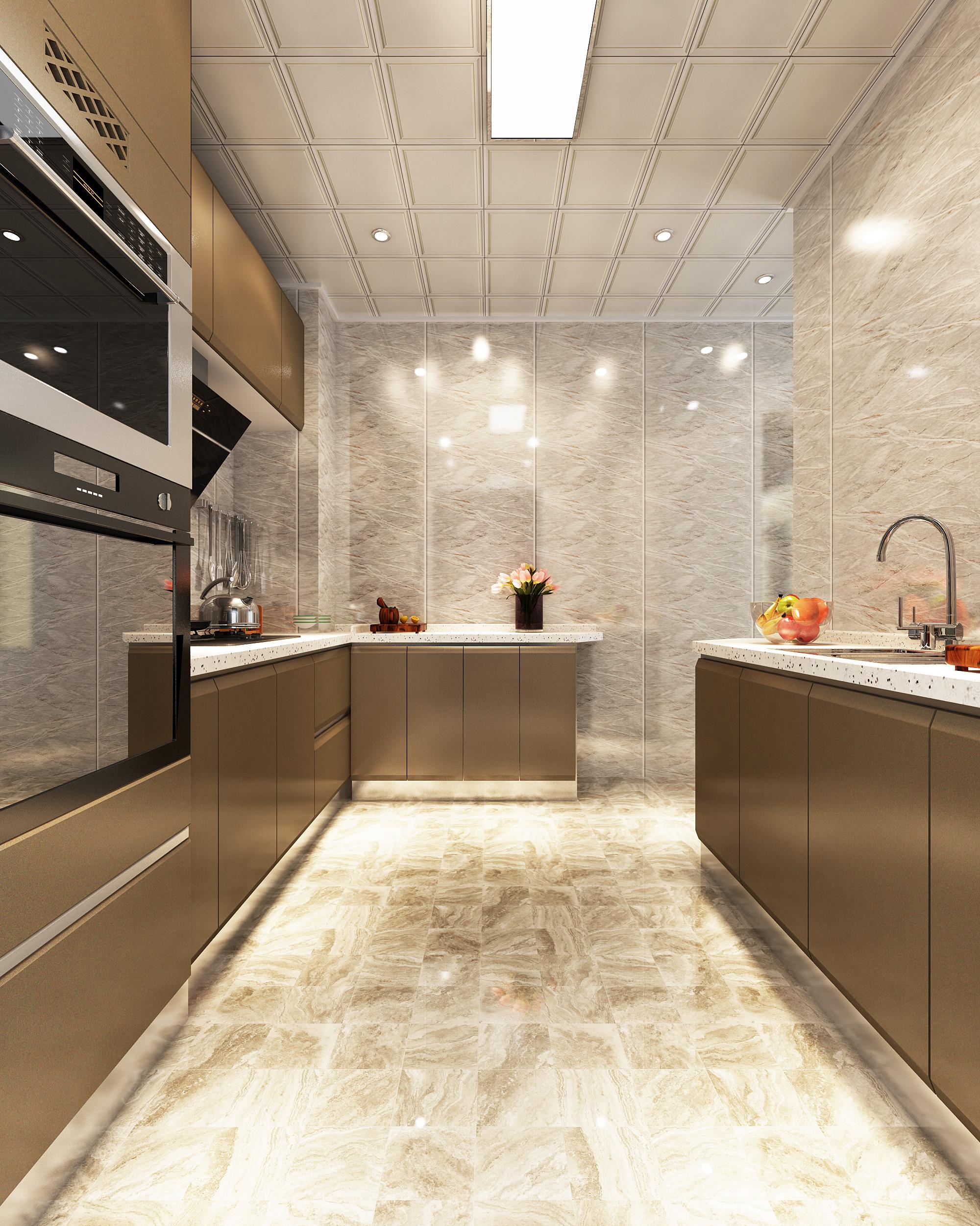 现代简约三居装修厨房设计图