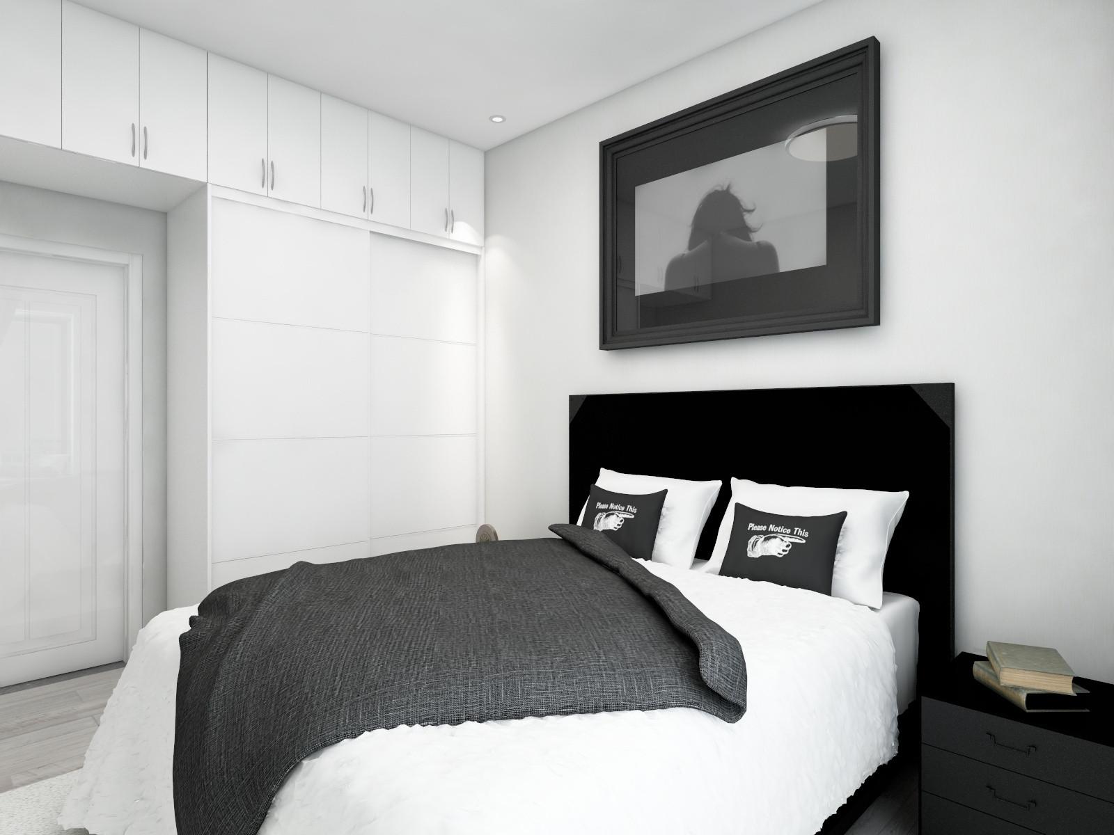 110㎡极简黑白灰装修卧室效果图