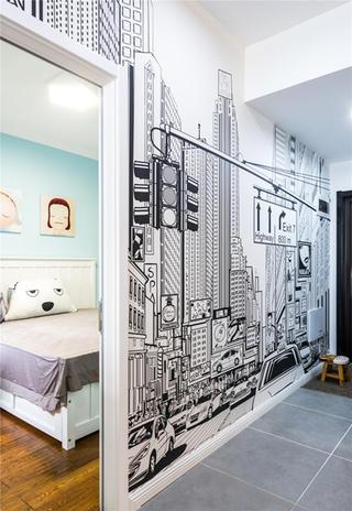 混搭二居装修手绘墙图片