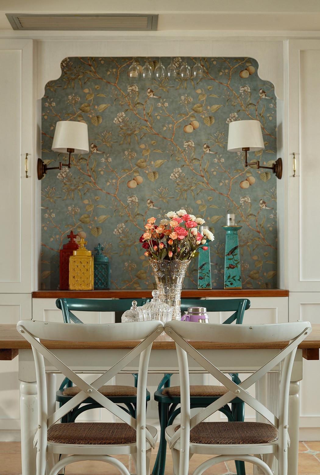 三居室田园风格家餐厅背景墙图片