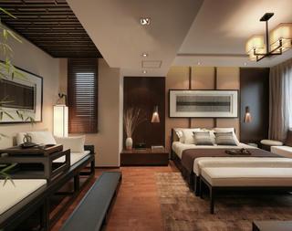 大户型新中式设计卧室品茶区