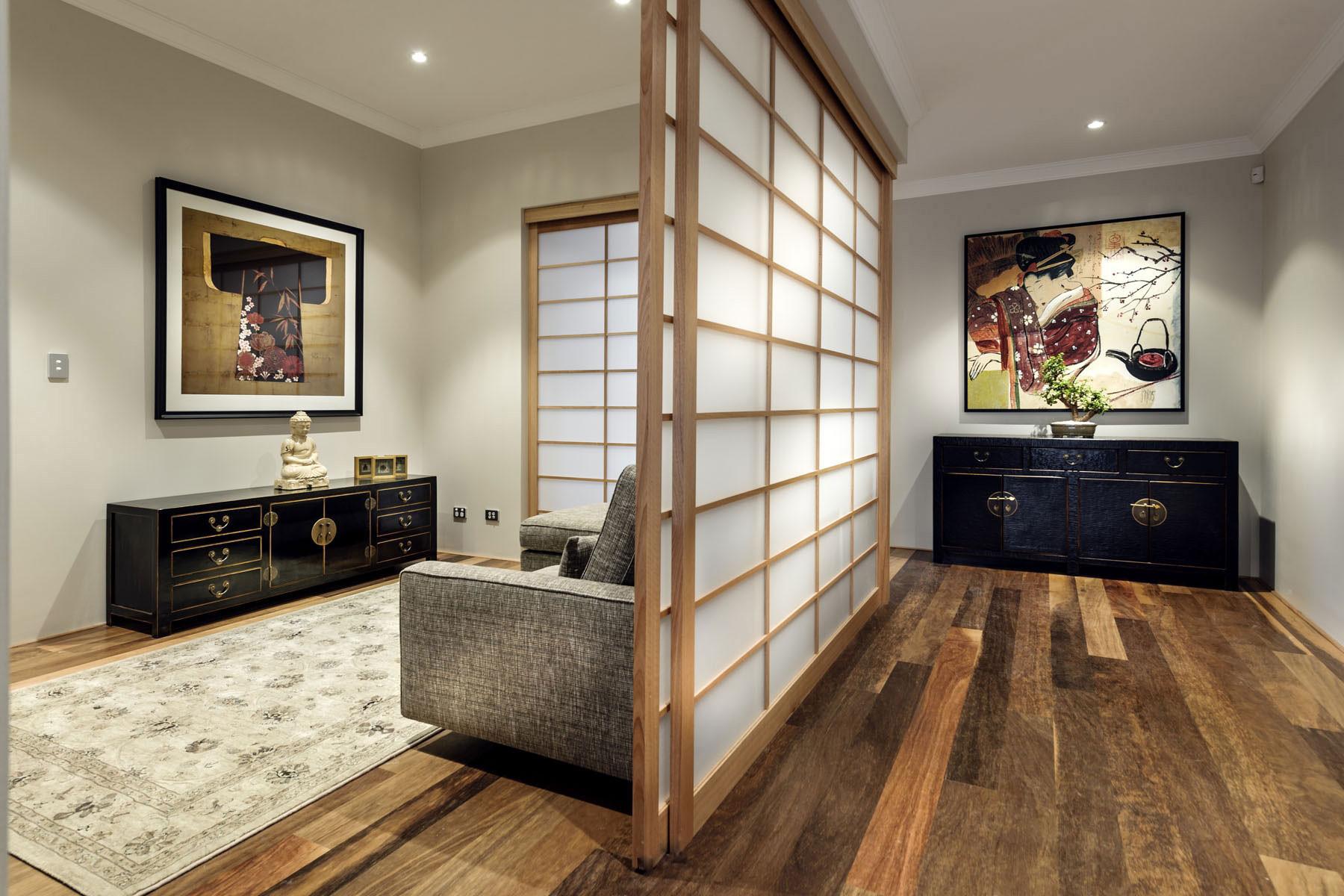 现代中式别墅装修玄关设计图