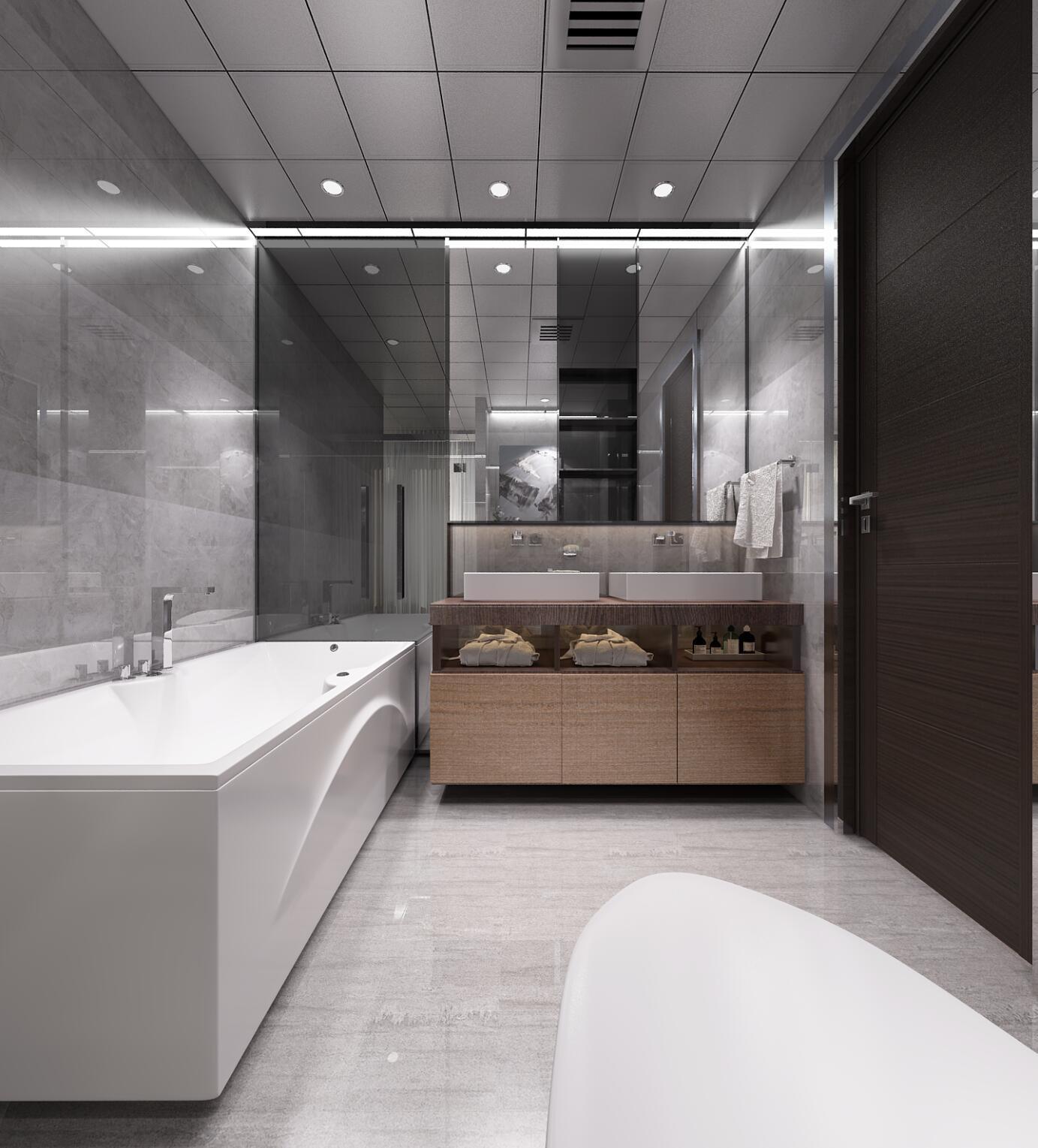 黑白灰调现代风格装修浴缸图片