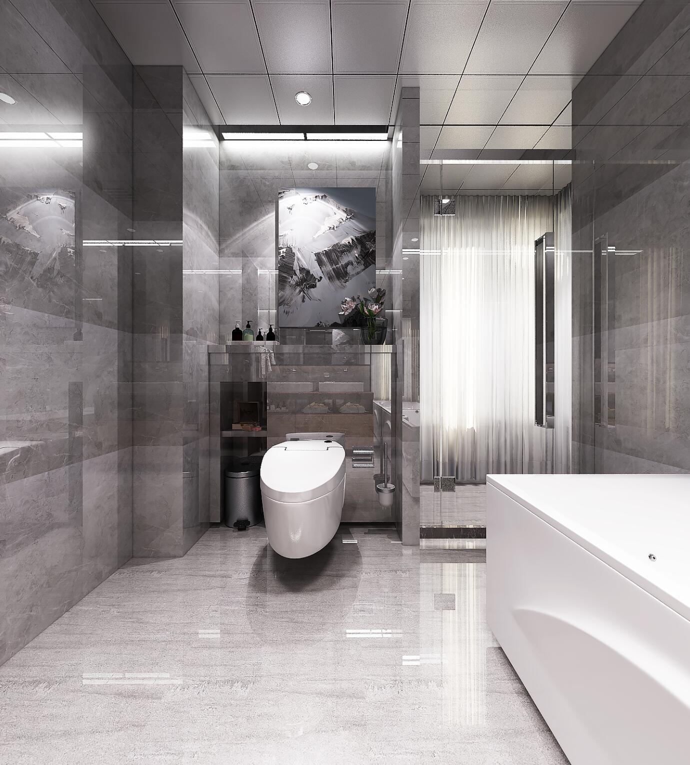 黑白灰调现代风格装修卫生间装潢图