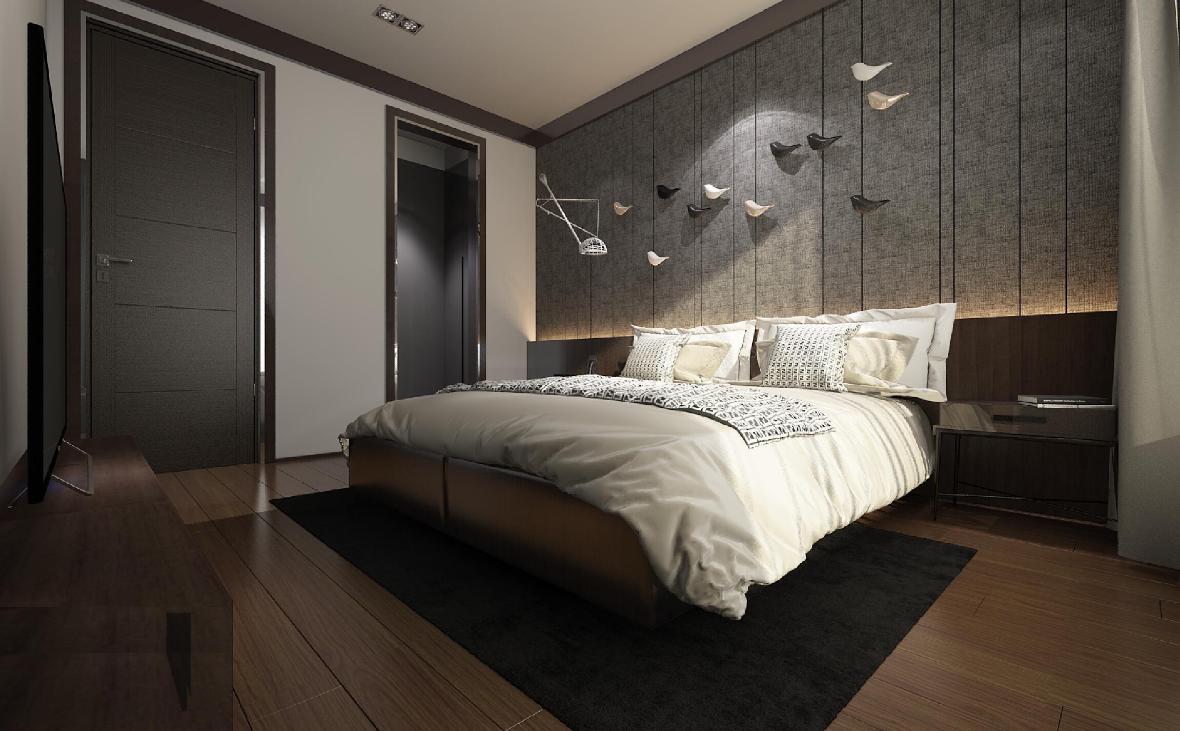 黑白灰调现代风格装修次卧效果图