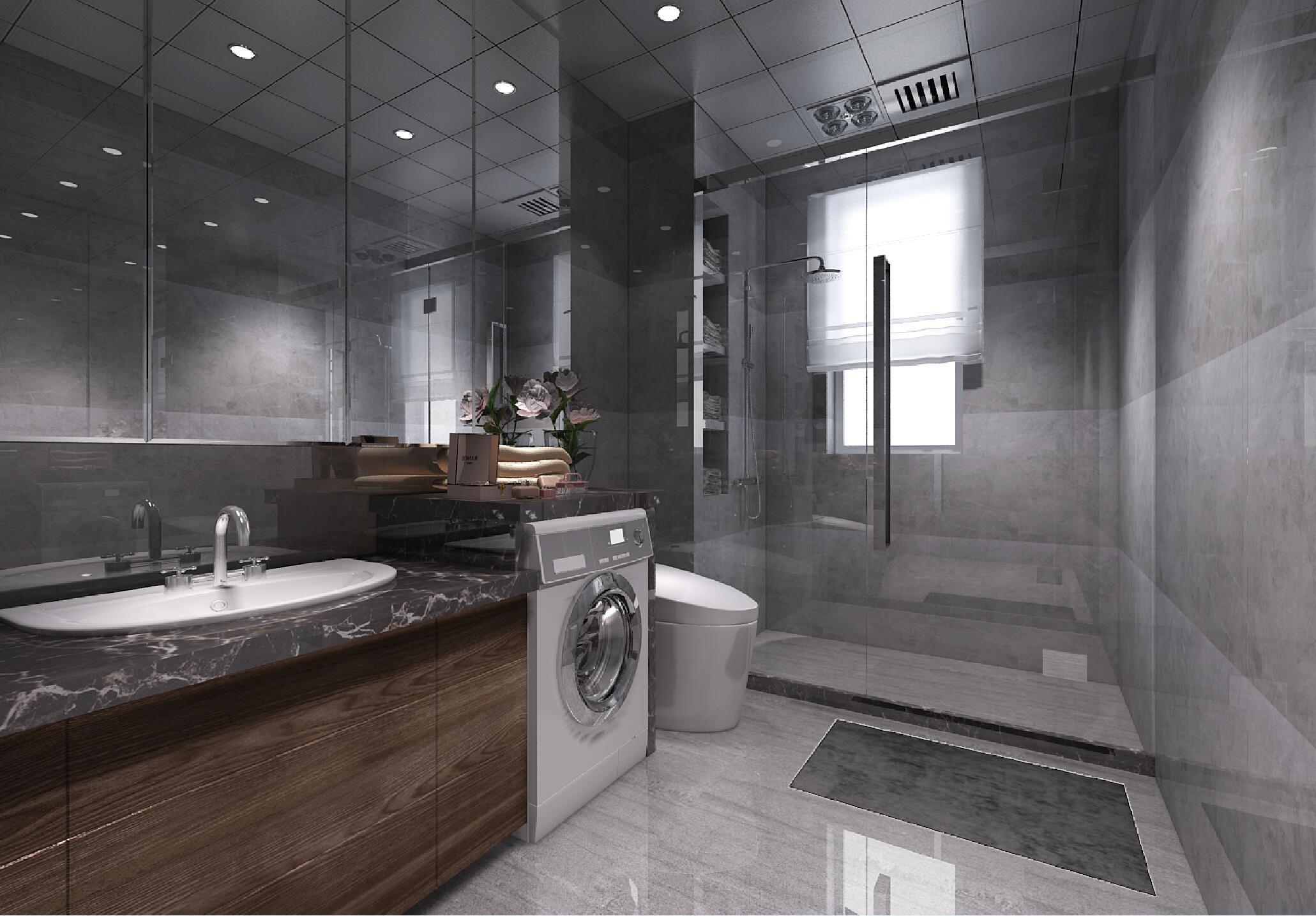 黑白灰调现代风格装修卫生间效果图