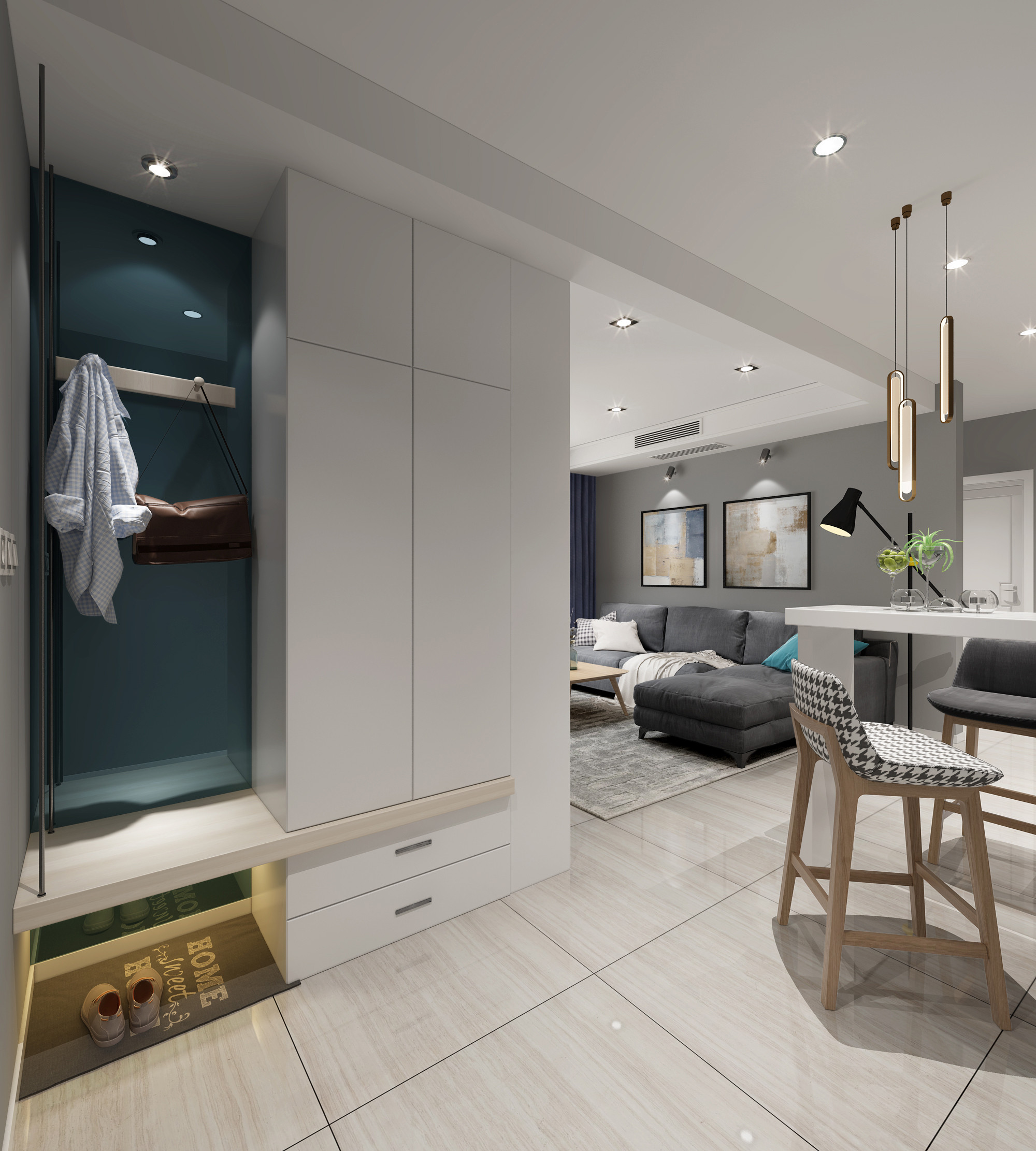 三居室北欧之家鞋柜图片