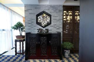 中式风复式装修玄关设计图