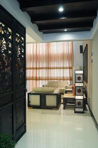 中式风复式装修垂帘隔断设计