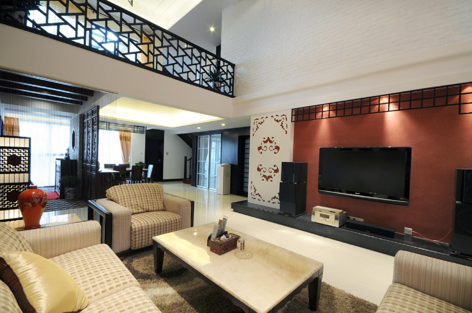 中式风复式装修电视背景墙图片