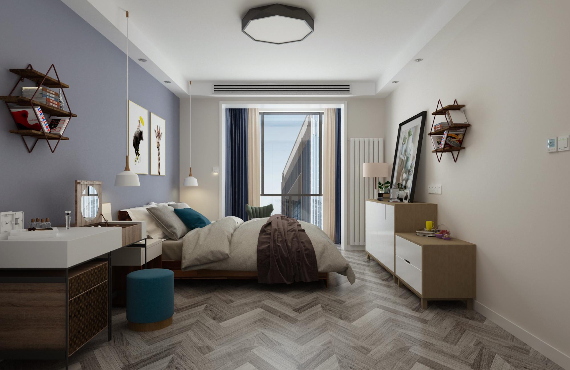 120平现代简约装修卧室效果图