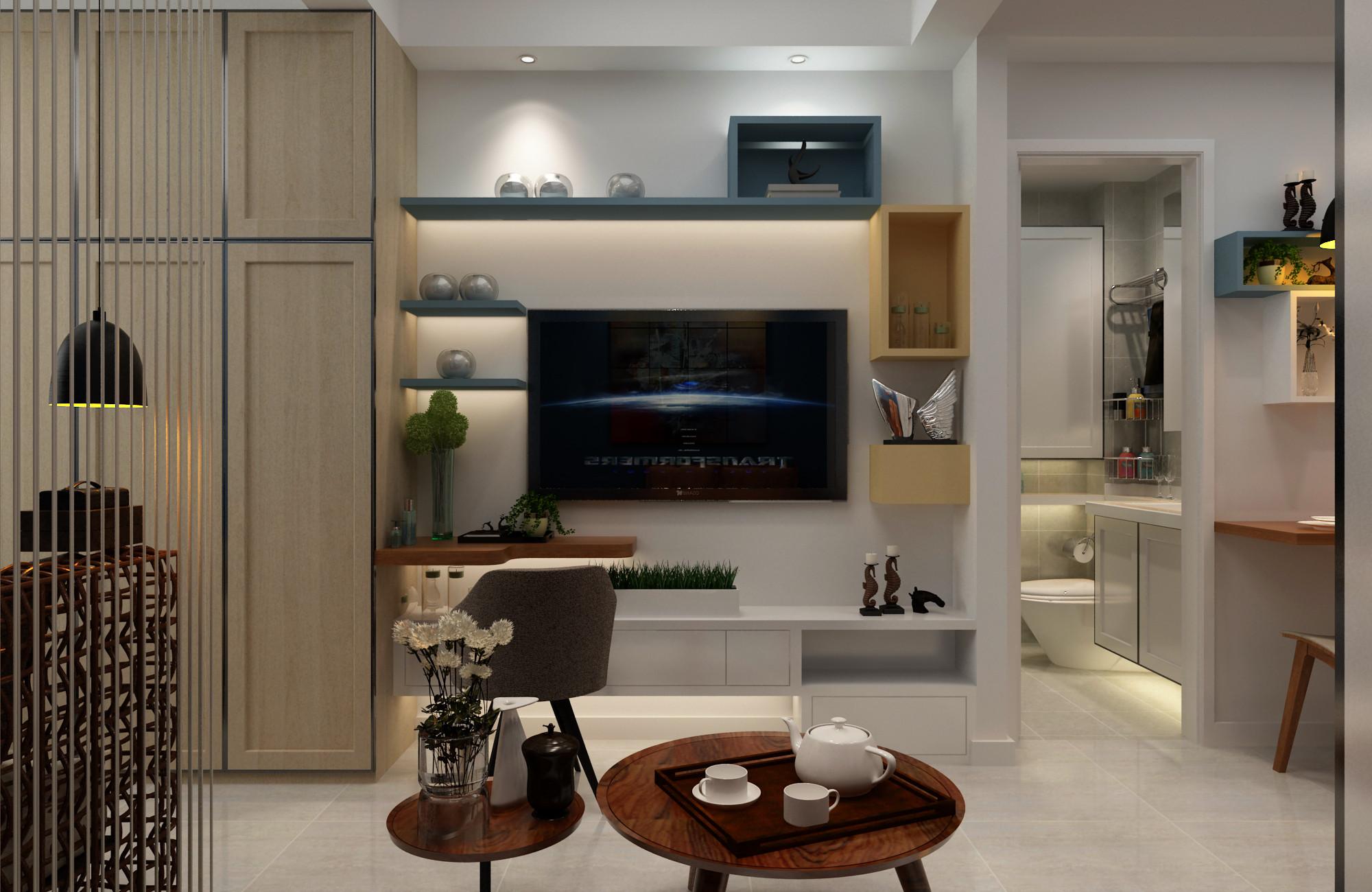 一居室小户型装修电视背景墙图片