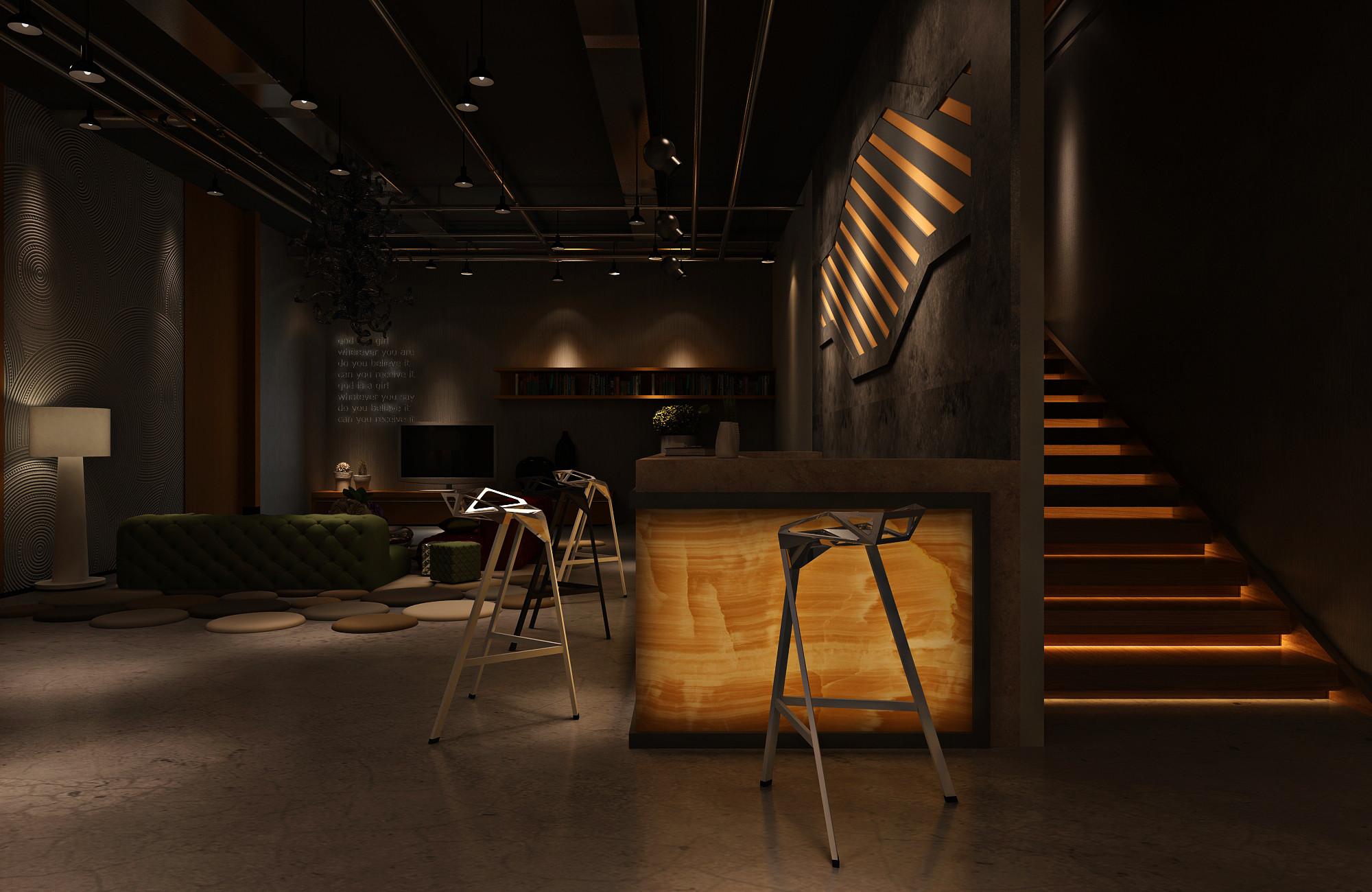 复古工业风酒吧装修楼梯图片