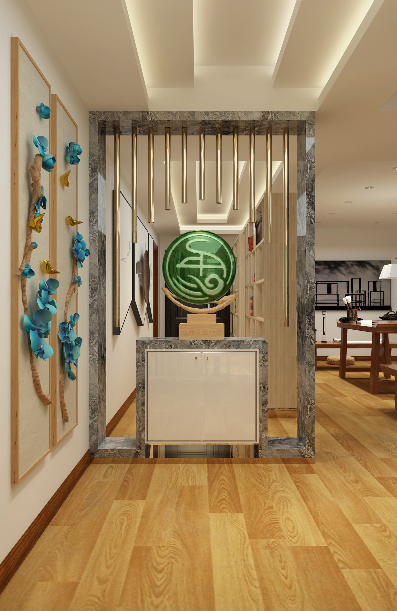 现代中式养生馆装修玄关隔断