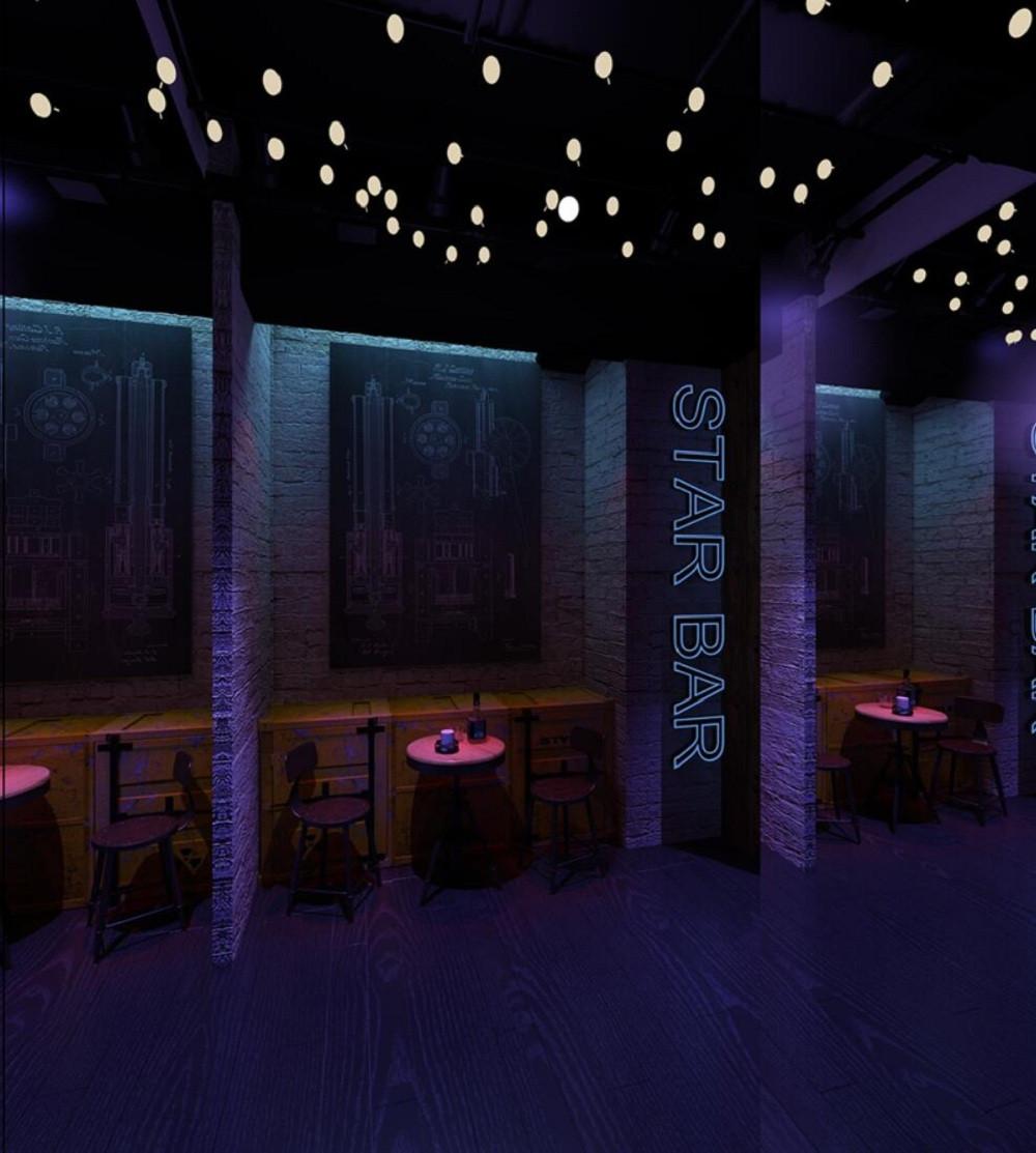 loft工业风酒吧装修休闲区效果图
