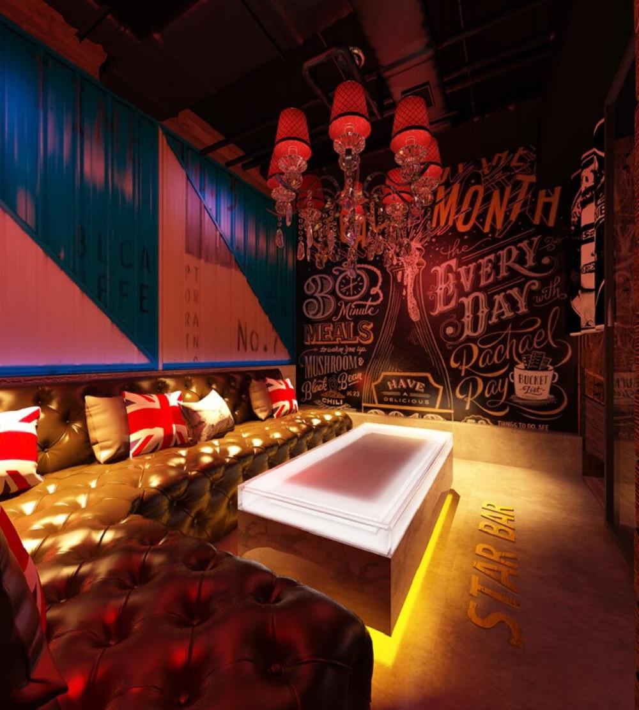 loft工业风酒吧装修卡座区效果图