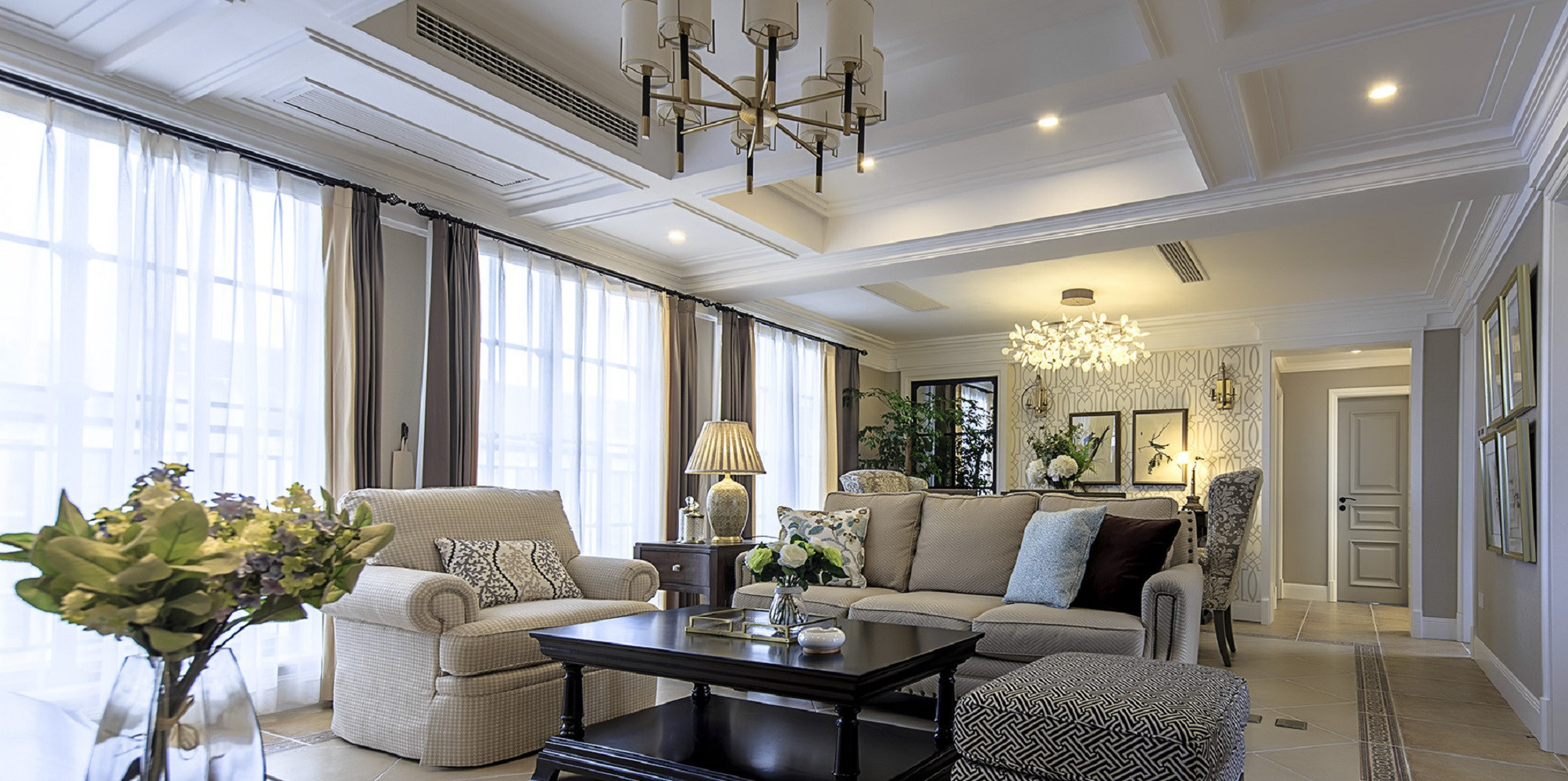 大户型美式风格家客厅效果图